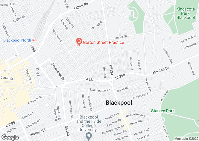 Map for Cambridge Road, Blackpool, Lancashire, FY1