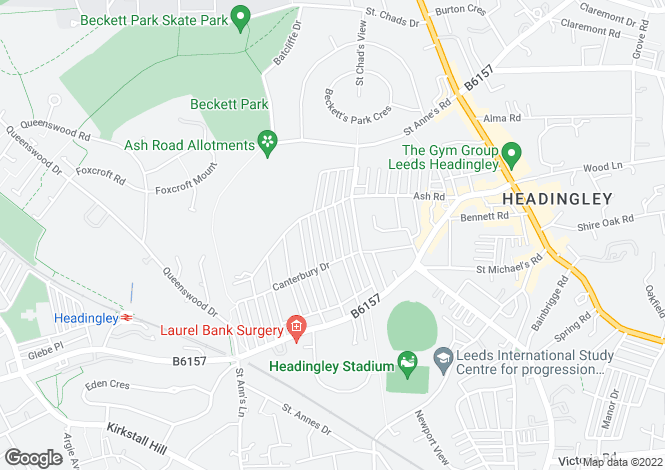 Map for Headingley Avenue, Headingley, Leeds, LS6
