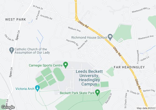 Map for Harrowby Road, West Park, Leeds