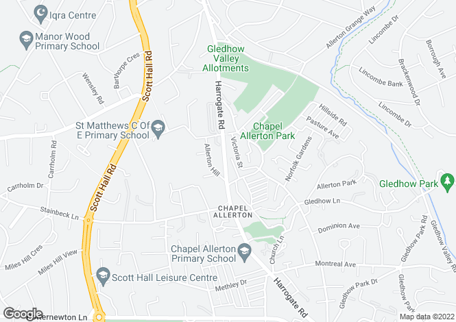 Map for Harrogate Road, Chapel Allerton, LS7