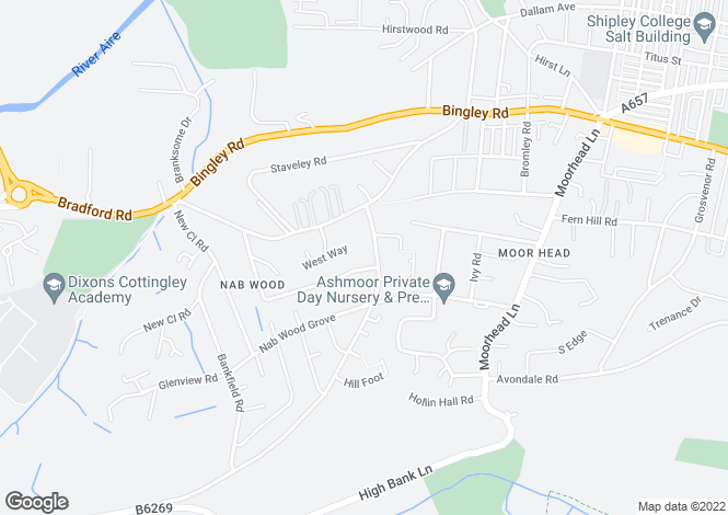 Map for Nab Wood Drive, Nab Wood, Shipley