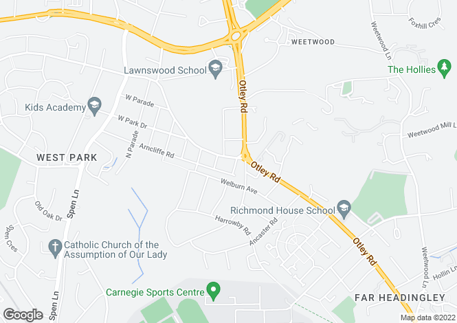 Map for Spen Road, West Park, Leeds, LS16