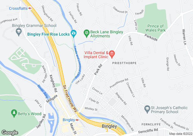 Map for Park Road, Bingley, West Yorkshire