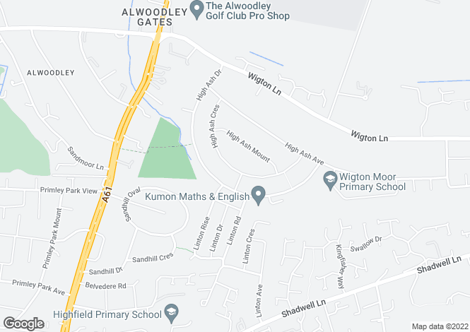 Map for 57 High Ash Crescent, Alwoodley, Leeds