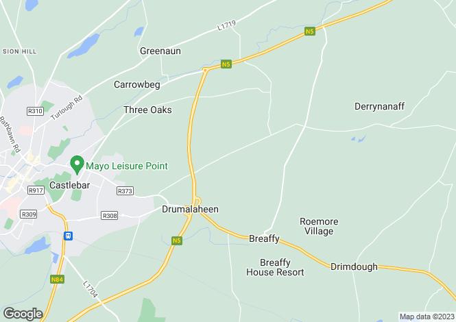 Map for Corheens, Breaffy, Castlebar, Co. Mayo