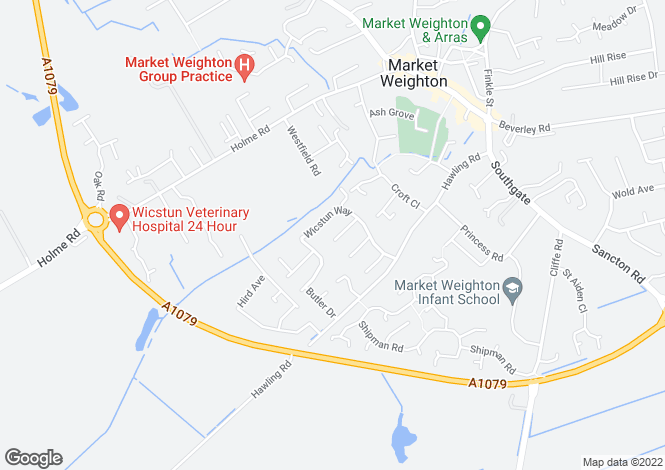 Map for Wilson Close, Market Weighton