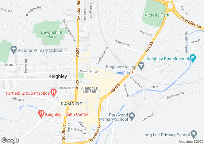 Map for Cavendish Street, KEIGHLEY, West Yorkshire