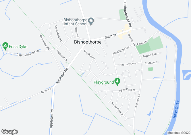 Map for Maple Avenue. Bishopthorpe