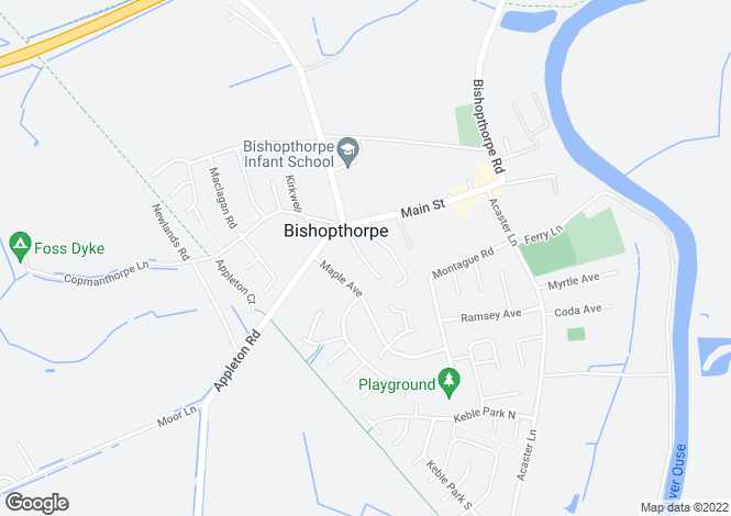 Map for School Lane, Bishopthorpe, York, YO23