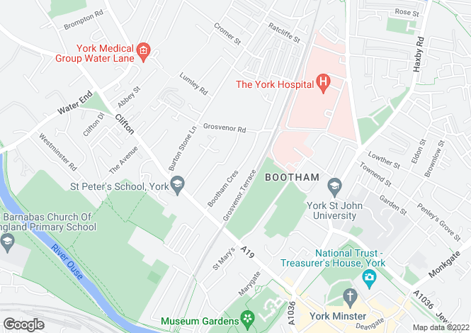 Map for Bootham Crescent, York, North Yorkshire