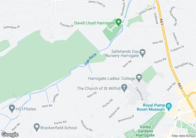 Map for OAKDALE, OFF KENT ROAD, HARROGATE, HG1 2LW