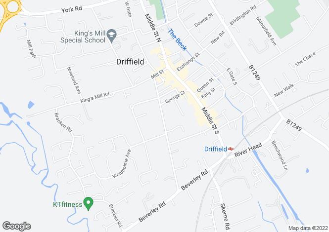 Map for St.Johns Road, Driffield, East Yorkshire, YO25