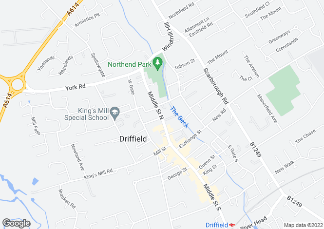 Map for Burnside, 25, Middle Street North, Driffield