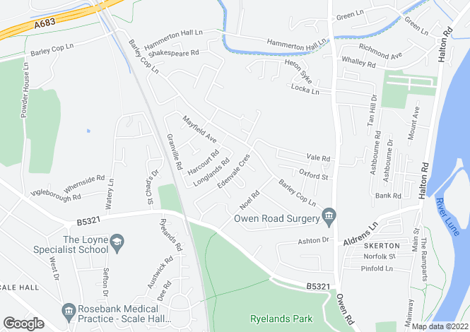 Map for Edenvale Crescent, Lancaster, Lancashire