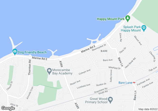 Map for Marine Road East, Morecambe, Lancashire, LA4