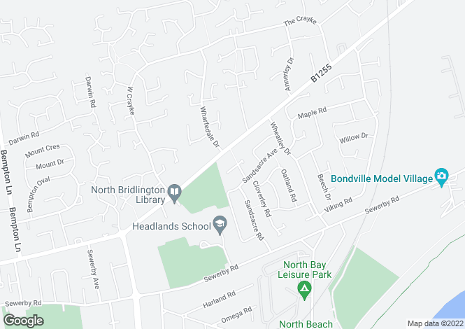 Map for Sandsacre Way, Bridlington, North Humberside, YO16