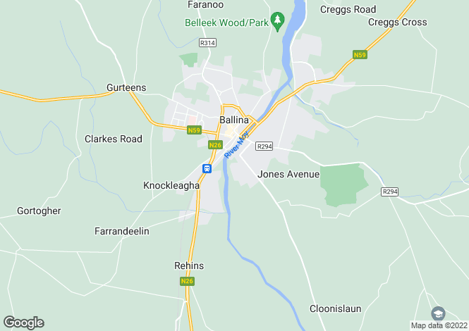 Map for 33 The Glebe, Church Road, Ballina, Co Mayo, F26 K0F1