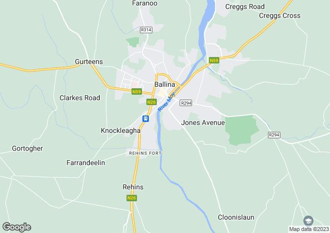 Map for 33 The Glebe, Church Road, Ballina, Co Mayo, F26 K0F1