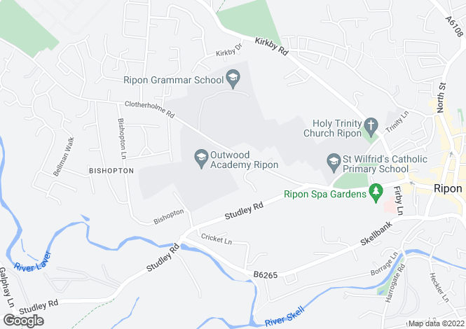 Map for Aislabie Close, Ripon