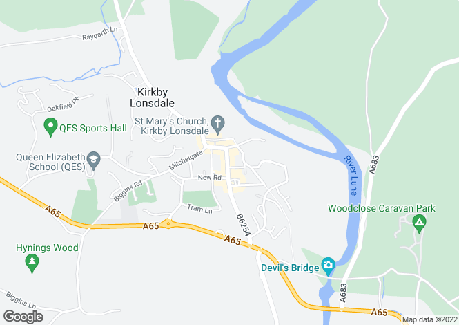Map for 65-67 Main Street, Kirkby Lonsdale, Carnforth, Lancashire.  LA6 2AH