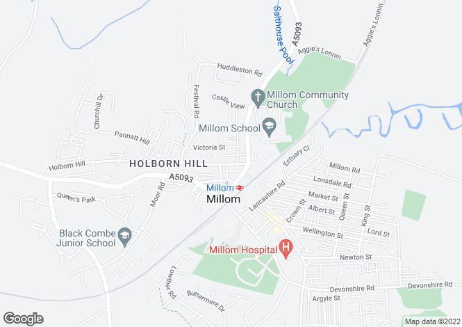 Map for Holborn Hill, Millom LA18