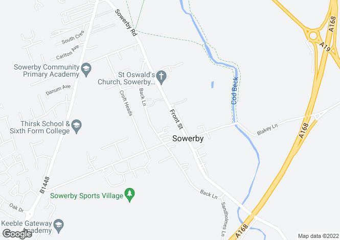 Map for Front Street, Sowerby, Thirsk, North Yorkshire, YO7