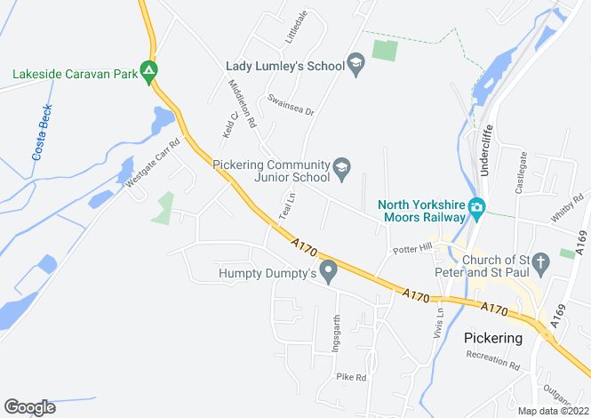 Map for Teal Lane, Pickering, Pickering, North Yorkshire, YO18