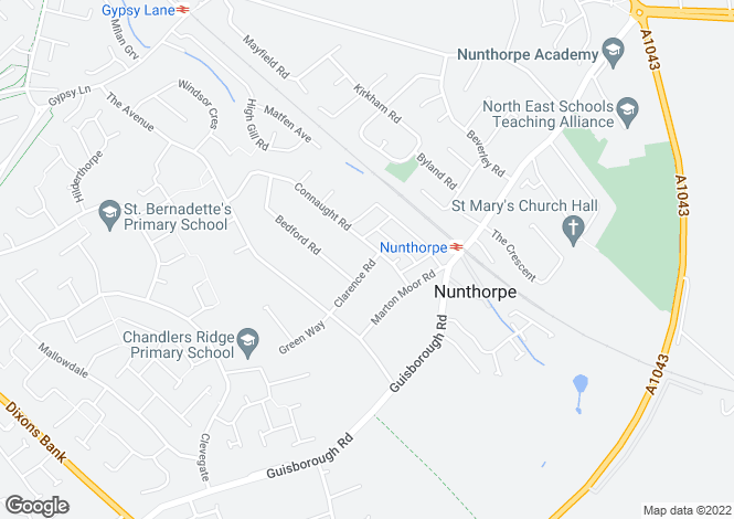 Map for Connaught Road, Nunthorpe
