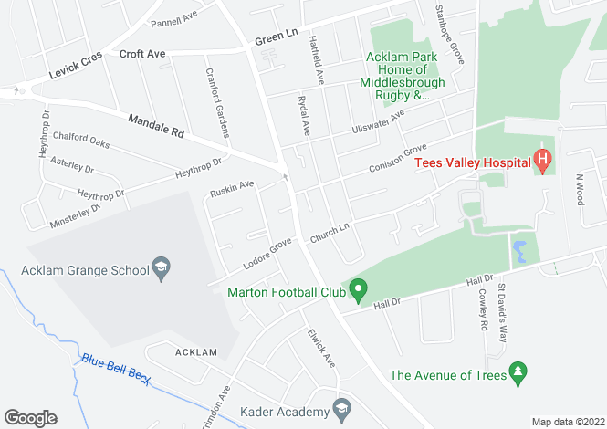 Map for Acklam Road, Acklam, Middlesbrough, Cleveland