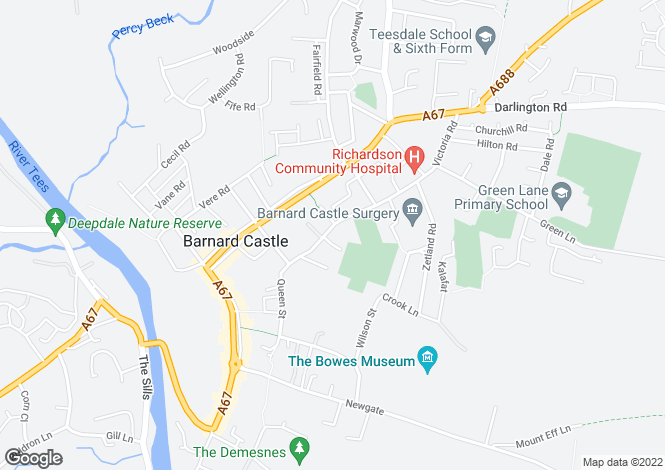 Map for Grove Lodge, 69 Victoria Road, Barnard Castle, County Durham