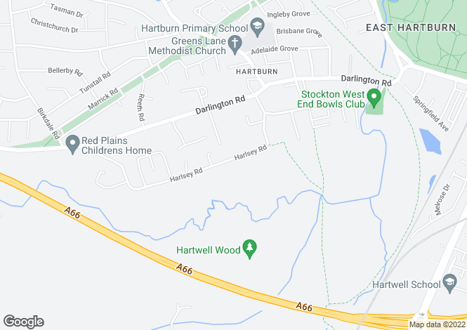 Map for Harlsey Road, Hartburn
