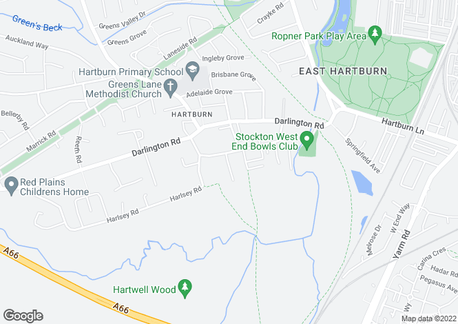 Map for Hartburn Village, Hartburn, Stockton-On-Tees