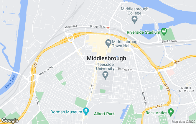 Map for Bridgfords Lettings, Middlesbrough