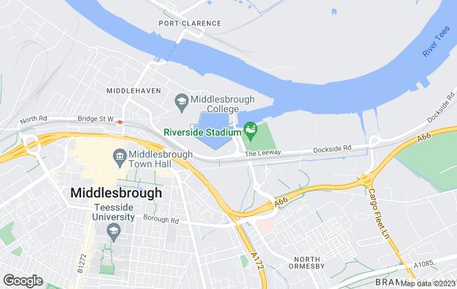 Map for Parker Barras , Middlesbrough