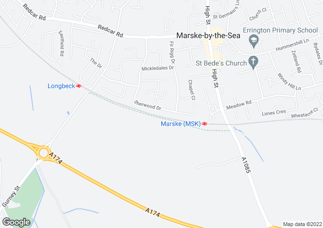 Map for Sherwood Drive, Marske-by-the-Sea