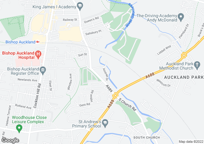 Map for Aintree Drive, Bishop Auckland, Co. Durham, DL14