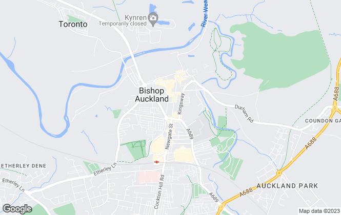 Map for REA Estates, Bishop Auckland - Sales