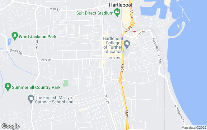 Map for Park Estates, Hartlepool