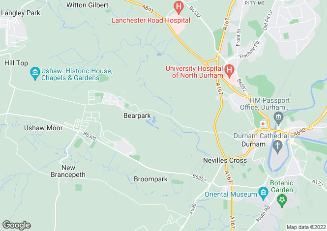 Map for Aldin Grange Hall, Bearpark, Durham
