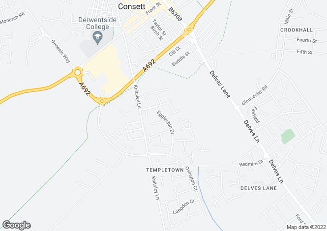 Map for Eggleston Drive, Templetown, Consett, DH8