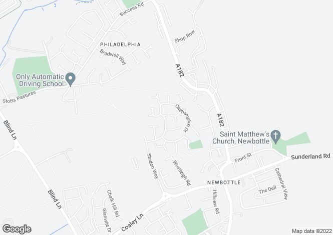 Map for Okehampton Drive, Newbottle, Houghton Le Spring, Tyne And Wear