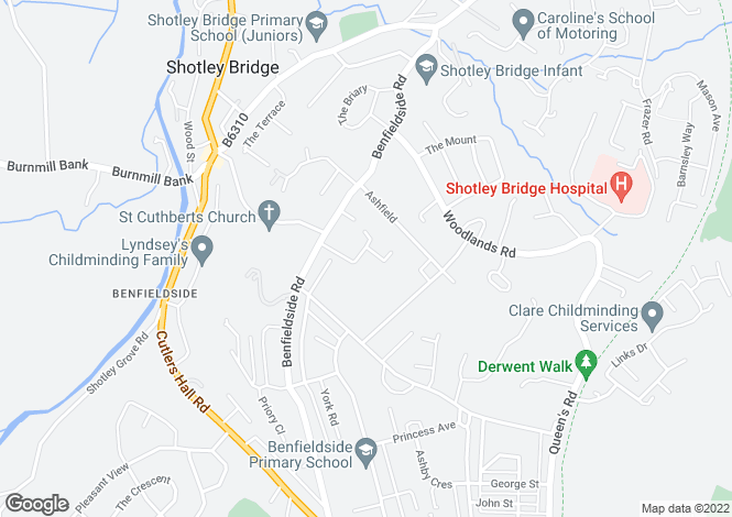 Map for Benfield Close, Shotley Bridge, Consett, DH8