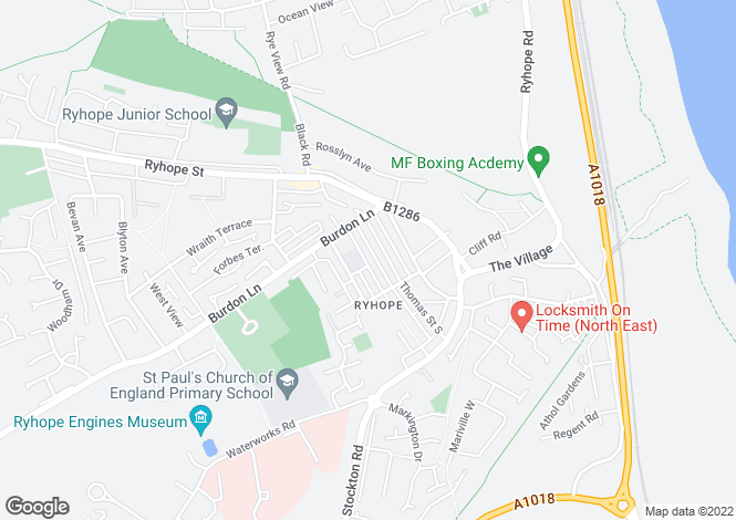 Map for Smith Street, Ryhope,       Sunderland