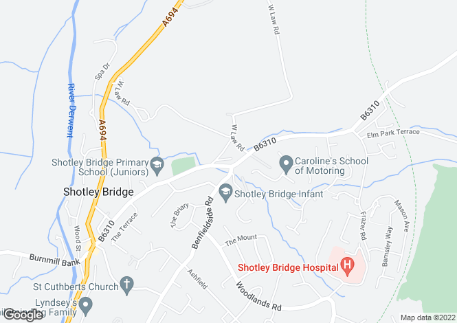 Map for Snowsgreen Road, Shotley Bridge, Consett, DH8