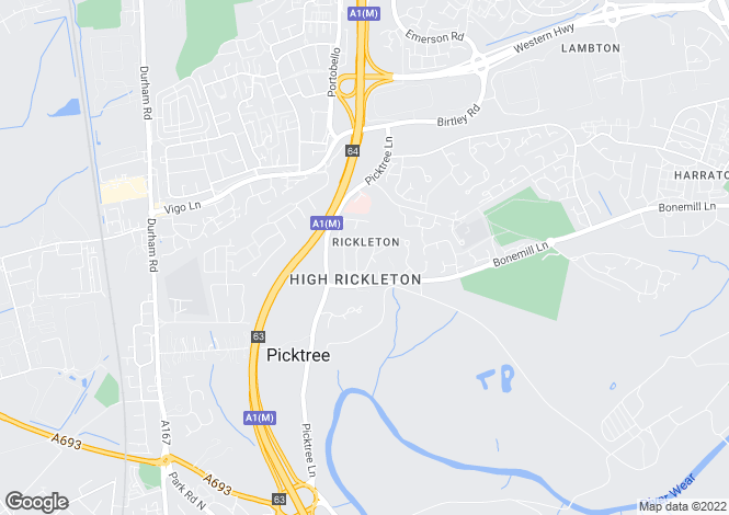 Map for Lambton Court, High Rickleton, Washington, Tyne and Wear