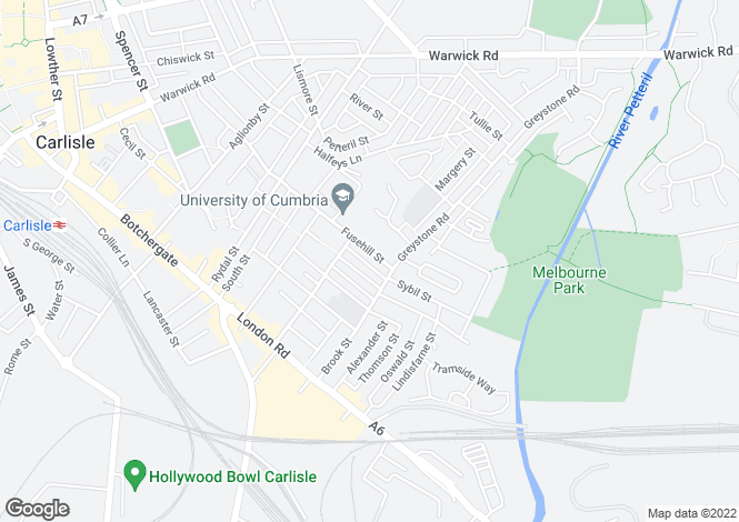 Map for Fusehill Street, Carlisle
