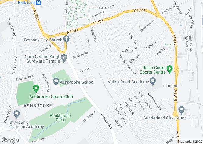 Map for Kensington House, Gray Road, Ashbrooke, Sunderland, Tyne and Wear