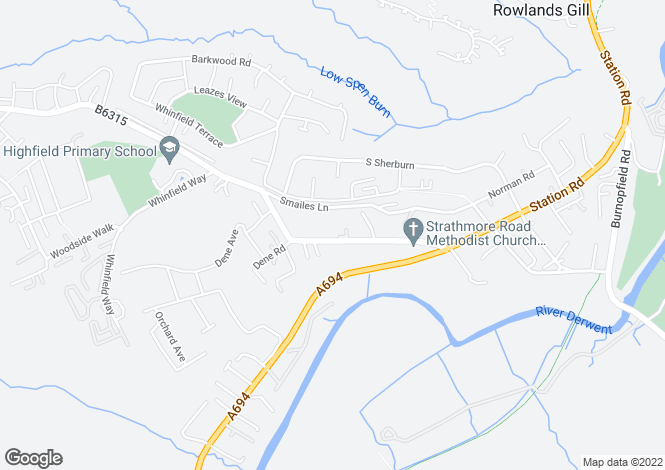 Map for Strathmore Road, Rowlands Gill, Tyne and Wear, NE39