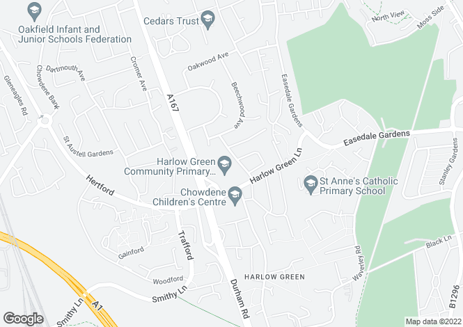 Map for Flexbury Gardens, Low Fell, Gateshead, NE9