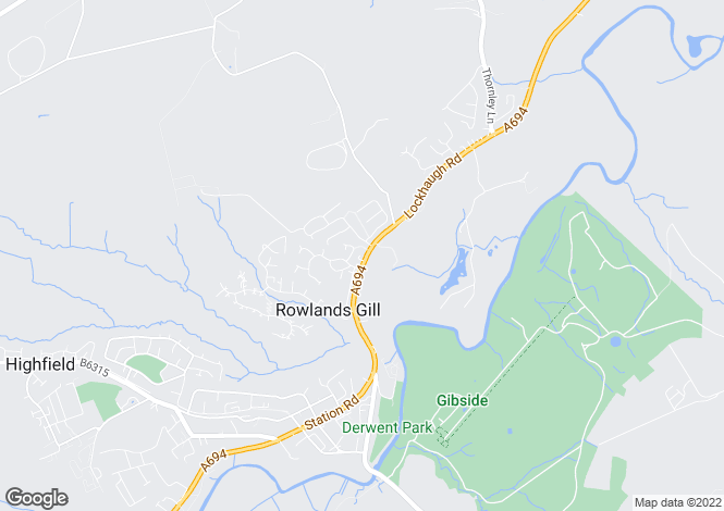 Map for LOCKHAUGH ROAD, ROWLANDS GILL.